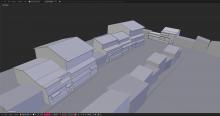 Viewport 3D des maisons en fond de scène