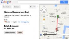 L'outil de mesure en action dans Google Map