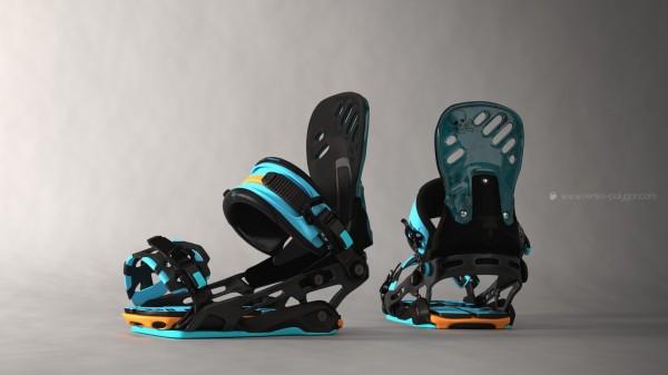 Fixation snowboard modélisée avec Blender