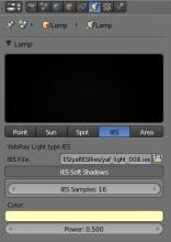 Panneau de paramètres des lampes IES